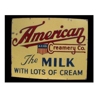 American milk company vintage sign post card
