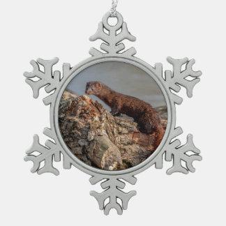 American Mink Snowflake Pewter Christmas Ornament