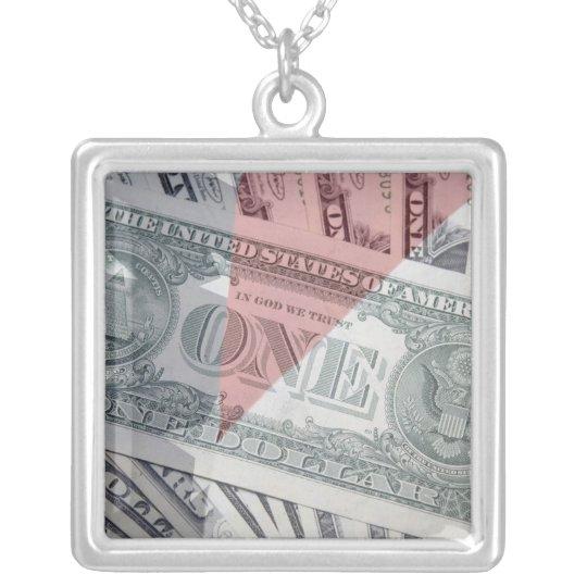 American Money Design Square Silver Necklace