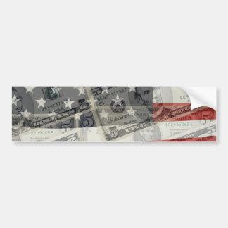 American Money & Flag Bumper Sticker