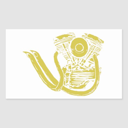 American Motorcycle Drawing Rectangular Stickers