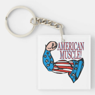 American Muscle 1 Double-Sided Square Acrylic Keychain