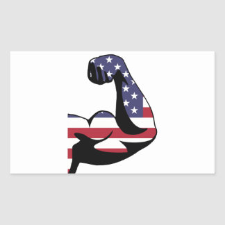 American Muscle Biceps Silhouette Rectangular Sticker