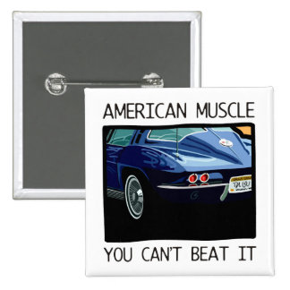 American muscle car, classic and vintage blue V8 Button