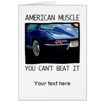 American muscle car, classic and vintage blue V8 Card