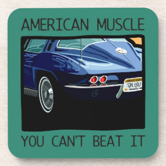 American muscle car, classic and vintage blue V8 Coasters