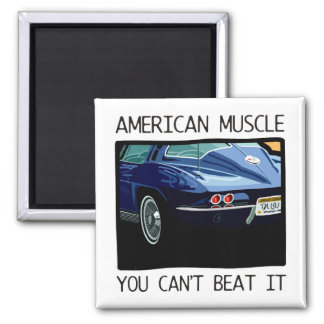 American muscle car, classic and vintage blue V8 2 Inch Square Magnet
