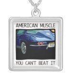 American muscle car, classic and vintage blue V8 Pendant