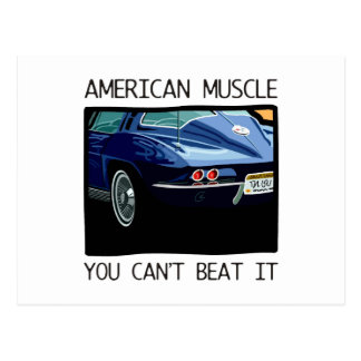 American muscle car, classic and vintage blue V8 Postcard