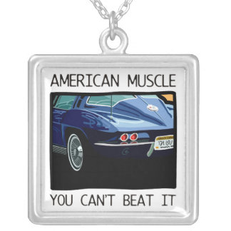 American muscle car, classic and vintage blue V8 Square Pendant Necklace