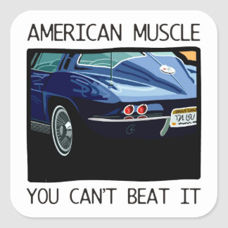 American muscle car, classic and vintage blue V8 Square Sticker