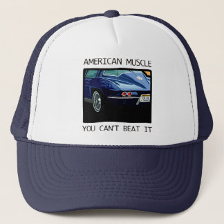 American muscle car, classic and vintage blue V8 Trucker Hat