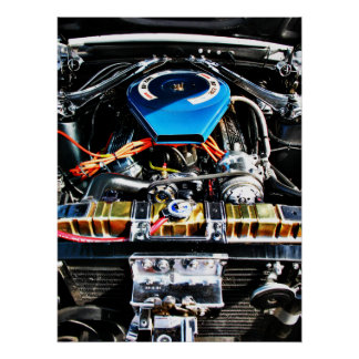 American Muscle Car Engine Poster