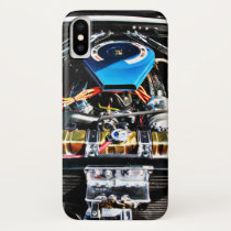 American Muscle Car Engine view from top. iPhone X Case