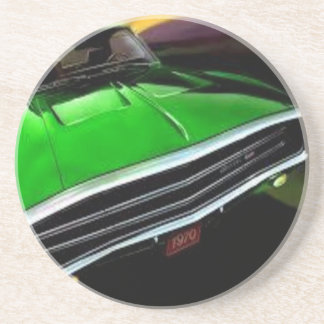 american muscle  cars charger green. drink coaster
