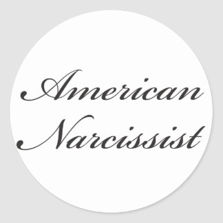 American Narcissist (script) Round Stickers