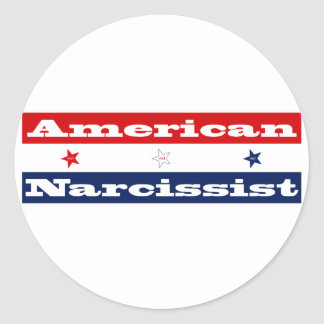 American narcissist (stars and stripes) classic round sticker
