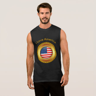 American nation flag with a gold frame sleeveless shirt