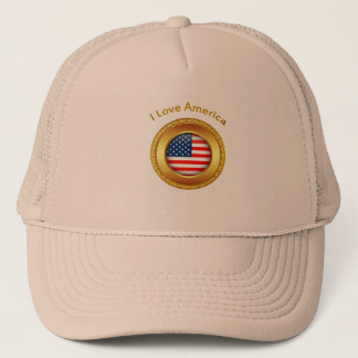 American nation flag with a gold frame trucker hat