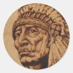 American Native Calcomanía Pegatina Redonda