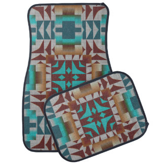 American Native Indian Rustic Cabin Mosaic Pattern Floor Mat