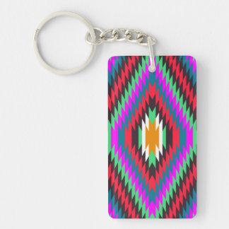 american native traditional ethnic costume motif Single-Sided rectangular acrylic keychain