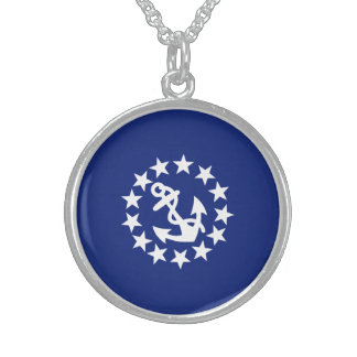 American Nautical Yacht Flag Anchor Stars Blue Sterling Silver Necklace