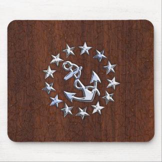 American Nautical Yacht Flag Anchor Stars Print Mousepads