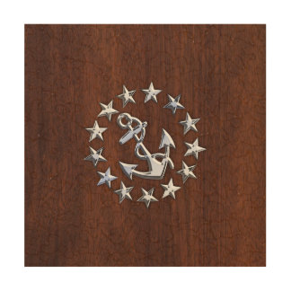 American Nautical Yacht Flag Anchor Stars Print Wood Canvases