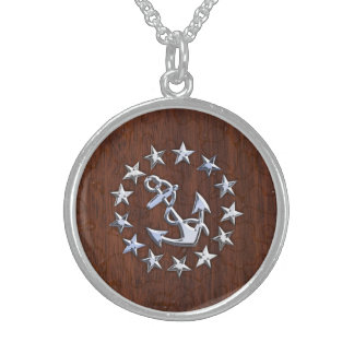 American Nautical Yacht Flag Wet Look Sterling Silver Necklace