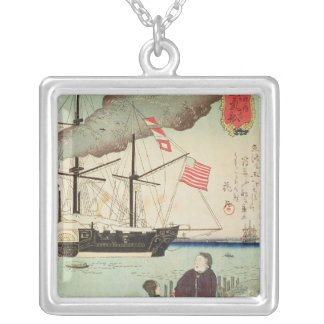 American naval vessel in a Japanese harbour Silver Plated Necklace