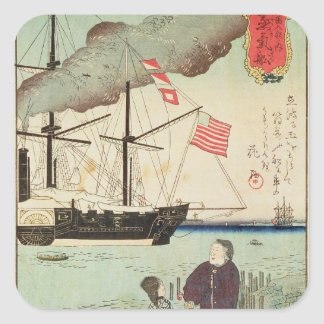 American naval vessel in a Japanese harbour Square Sticker