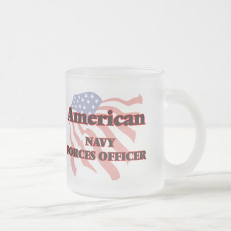 American Navy Forces Officer 10 Oz Frosted Glass Coffee Mug