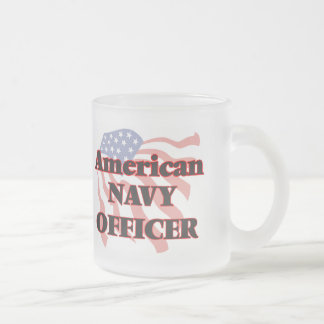 American Navy Officer 10 Oz Frosted Glass Coffee Mug