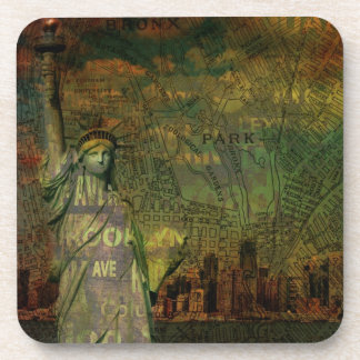 American New York Map Statue Of Liberty Beverage Coaster