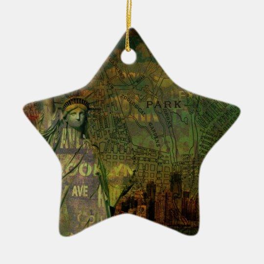 American New York Map Statue Of Liberty Ceramic Ornament