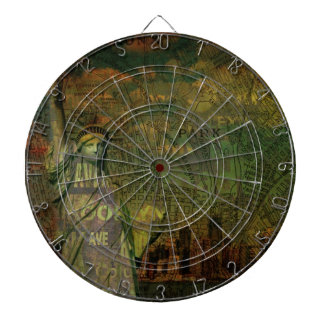 American New York Map Statue Of Liberty Dart Board