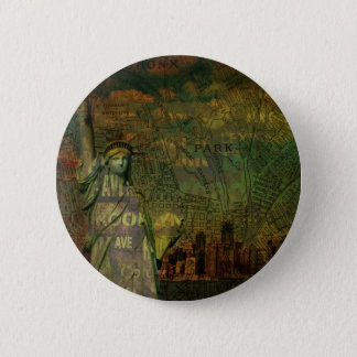 American New York Map Statue Of Liberty Pinback Button