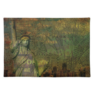 American New York Map Statue Of Liberty Placemat