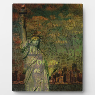 American New York Map Statue Of Liberty Plaque