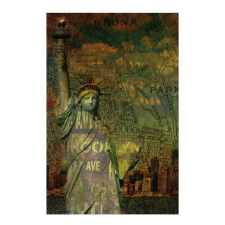 American New York Map Statue Of Liberty Stationery