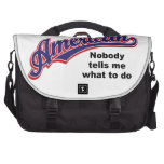 American: Nobody tells me what to do Laptop Bags