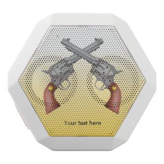 American Old West Revolvers Crossed Vintage White Bluetooth Speaker