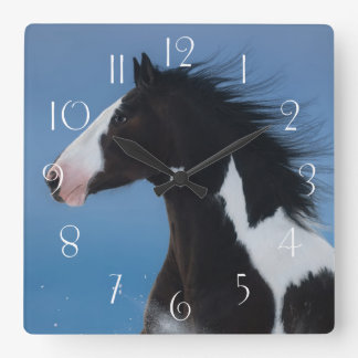American paint horse square wall clock