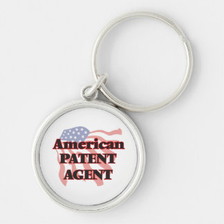 American Patent Agent Silver-Colored Round Keychain