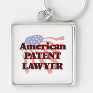 American Patent Lawyer Silver-Colored Square Keychain