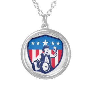 American Patriot Beer Keg Flag Crest Retro Round Pendant Necklace