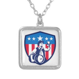 American Patriot Beer Keg Flag Crest Retro Square Pendant Necklace