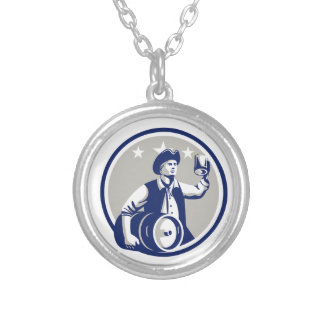 American Patriot Carry Beer Keg Circle Retro Round Pendant Necklace