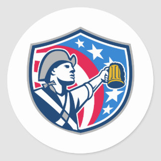 American Patriot Craft Beer Mug USA Flag Crest Ret Classic Round Sticker